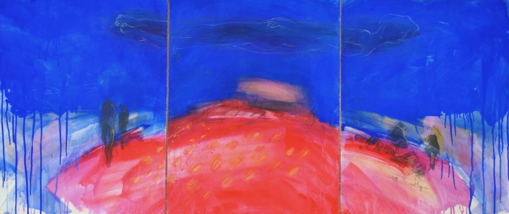 blue red triptic 2009,  65x150