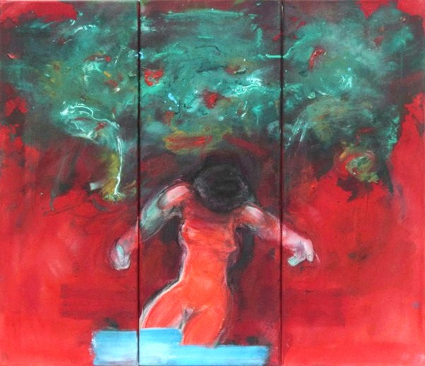 Woman in red  2011  triptic 65x75